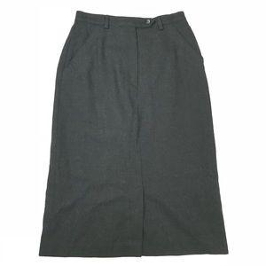 DVF Black Wool Below Knee Midi Skirt Vintage